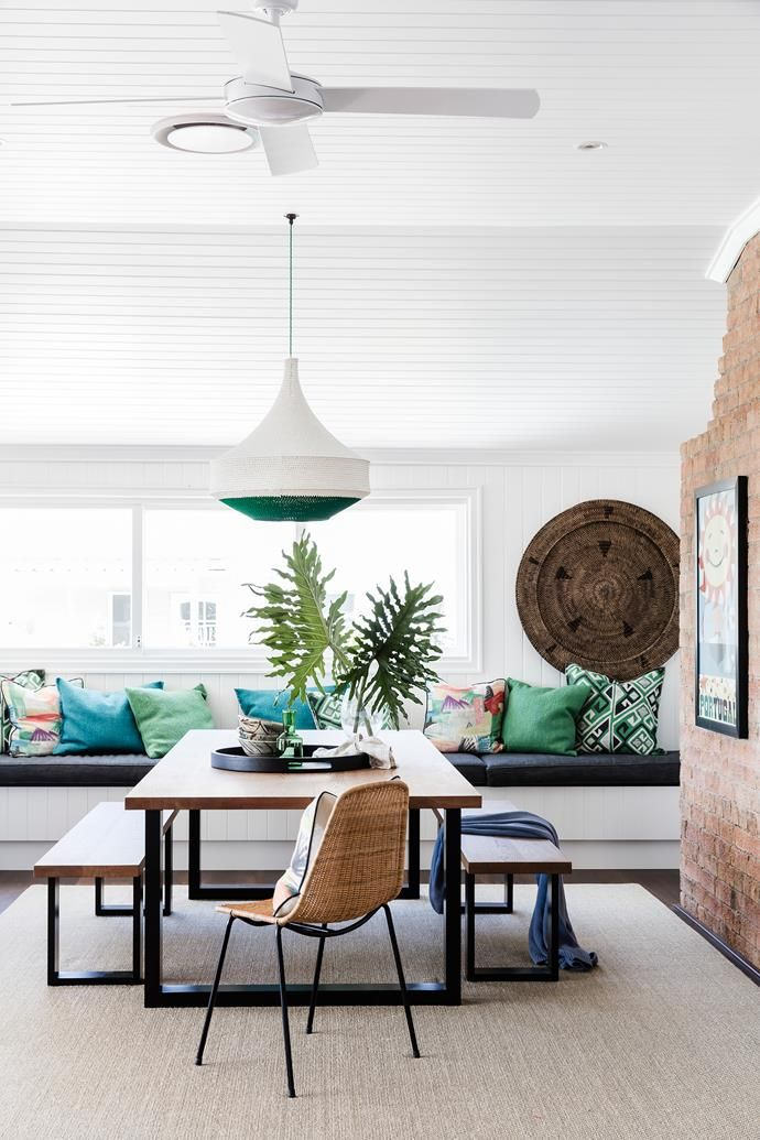 A banquette is great for relaxing and extra guests. Photo: Maree Homer | Styling: Kate Nixon | Story: Australian House & Garden
