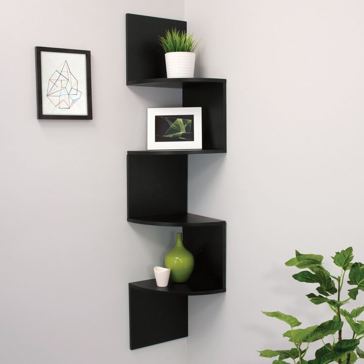 AZ Trading Provo Black Corner Shelf with 4 Shelves - FN81463-0INT
