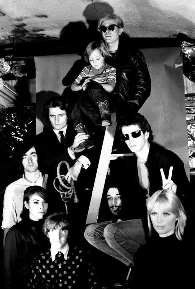 Andy Warhol with Nico's son (Ari Boulogne), Gerard Malanga, Sterling Morrison, Mary Woronov, Maureen Tucker, John Cale, Lou Reed, and Nico.