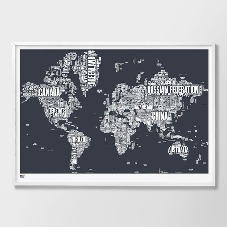 Material: 250g Papier aus 100% recyceltem Material (off white) Farbe: Sheer Slate / Dunkelgrau Größe: B100xH70cm Lieferung ohne Rahmen passt in Standardrahmen z.B. von Ikea  hergestellt in England