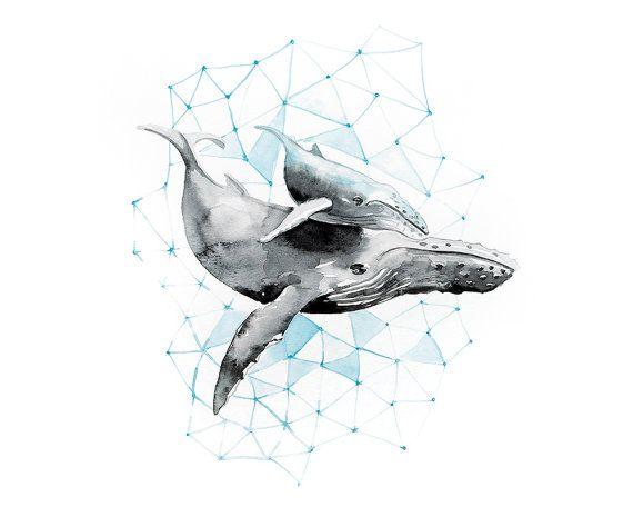 Printable wall art/ Whale/ watercolor/ by WatercolorprintByOli