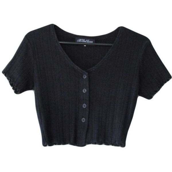 90s Crop Top Black Ribbed Fabric All That Jazz ($15) ❤ liked on Polyvore featuring tops, t-shirts, shirts, crop tops, button t shirt, cotton t shirt, t shirts, black shirt e black t shirt