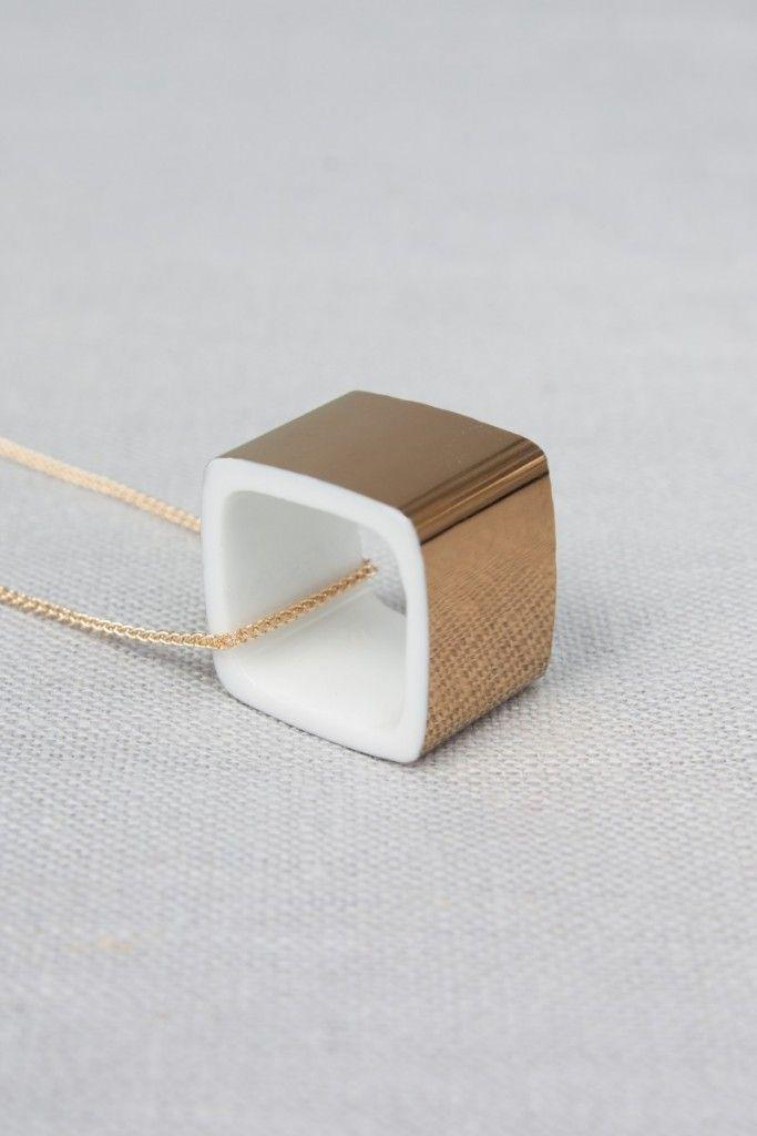 Gold Square, Reiko Kaneko, Fine Bone China, Jewellery, Stoke on Trent