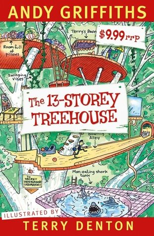 """The 13-storey treehouse"", by Andy Griffiths & Terry Denton - Who wouldn't want to live in a treehouse? Especially a 13-storey treehouse that has a see-through swimming pool, a tank full of sharks, a library full of comics, self-making beds, a secret underground laboratory, and a marshmallow machine that follows you around and automatically shoots your favourite flavoured marshmallows into your mouth whenever it discerns you're hungry."