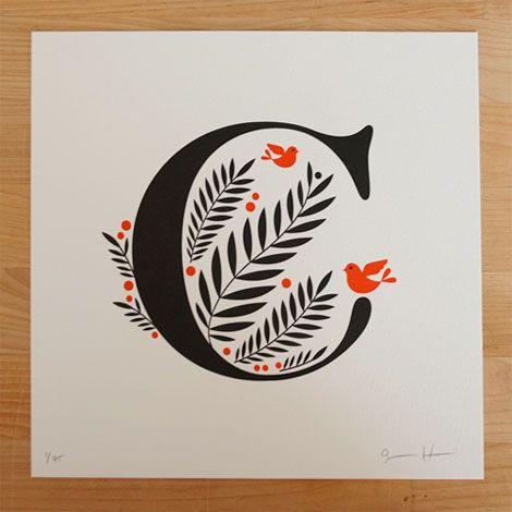 jessica hische, daily drop cap, letters, letterpress, prints