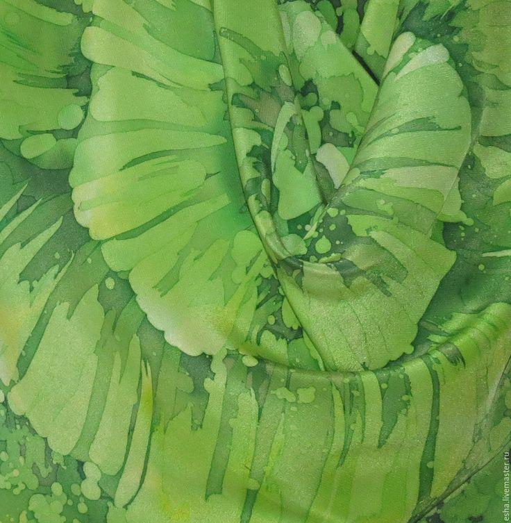 """Купить Шелковый платок батик """"Эсмеральда"""", ручная роспись - Батик, шелк, шелк натуральный"""