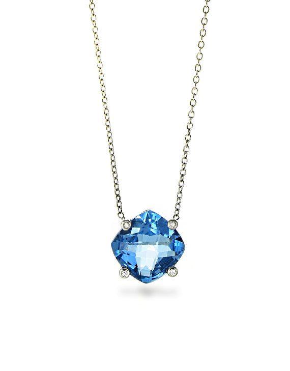 Blue Topaz and Diamond Pendant, Blue Topaz Necklace, 14K White Gold Necklace, 14k wg
