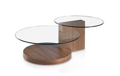 MESA DE CENTRO REDONDA DOBLE. Mesa de salón en madera chapada de nogal y 2 tapas redondas de cristal templado