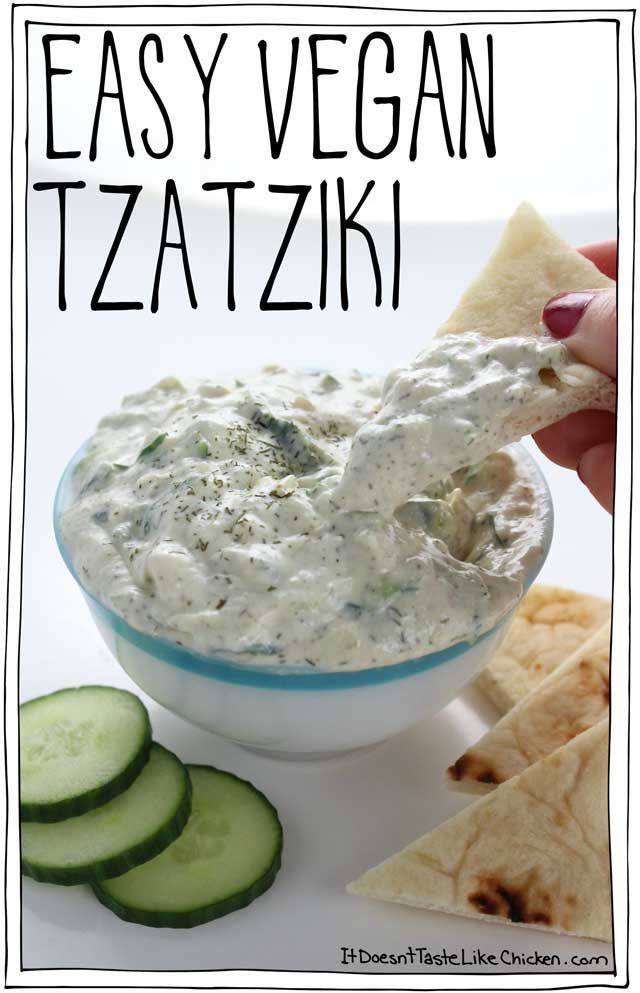 This quick and easy vegan tzatziki is made using easy to find ingredients and takes just 10 minutes to make. Perfect for dairy-free Greek recipes.