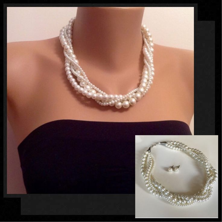 A personal favorite from my Etsy shop https://www.etsy.com/listing/223122376/white-ivory-pearl-twisted-necklacebridal