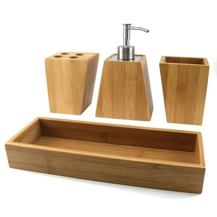 Accesorios para el cuarto de baño en bambú, puedes combinarlos este juego de tocador con distintos complementos como rinconera para baño, alfombra de baño, escobillero y portarrollos de bambú. Bonitos y prácticos. Juego de tocador de bambú Hamoc 4 piezas