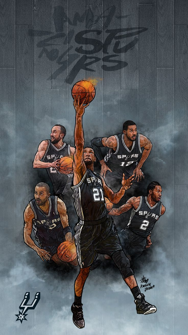NBA Phone Wallpaper -  Artist: Kim MinSuk (김민석) #Yellowmenace #basketballart #Spurs + http://yellowmenace8.blogspot.com/2015/04/art-minsuk-kim-nba-2014-15-season-in.html