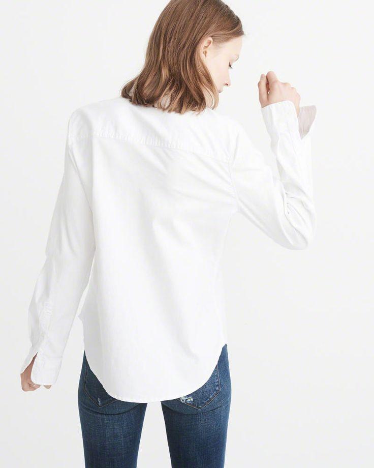 A&F Women's Oxford Shirt in White - Size XL