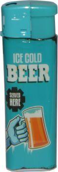 RZOnlinehandel - Atomic Elektronik Feuerzeug Nachfüllbar Retro Beer Motiv - Ice Cold Beer