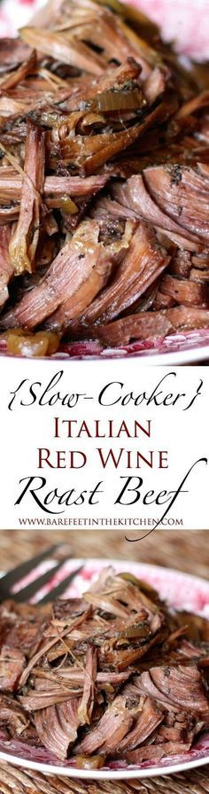 Slow-Cooker Italian Red Wine Roast Beef - This is the best crockpot recipe for Italian Beef I have ever tried! Delicious and easy dinner recipe.