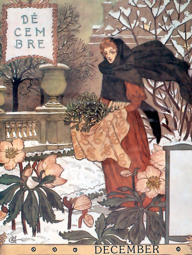 December Page Of Calendar For 1896 Illustrated By Eugene Grasset A French Native Living In Switzerland Was Pioneer Art Nouveau Design