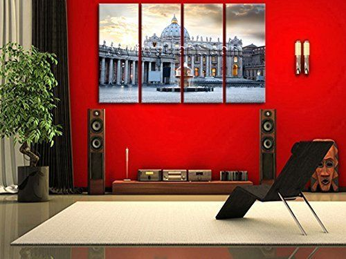 "Extra Large St Peter'S Basilica Rome Cityscape Art On Canvas Print Decor 99""x60"", Oversized Rome Wall Art, Living Room, Slate Grey. Extra Large St Peter'S Basilica Rome Cityscape Art On Canvas Print Decor 99""x60"" Subject : Rome Style : Photography Panels : 4 Detail Size : 24""x60""x4 Overall Size : 99""x60"" = 251cm x 152cm Medium : Giclee Print On Canvas Condition : Brand New Frames : Gallery wrapped Availability: *Important: This is a very large size wall art, and we are not able to ship it..."