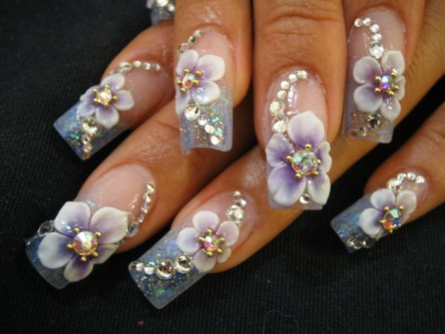 Purple 3d flowers - Nails Style Photo Gallery | nailsstyle.com