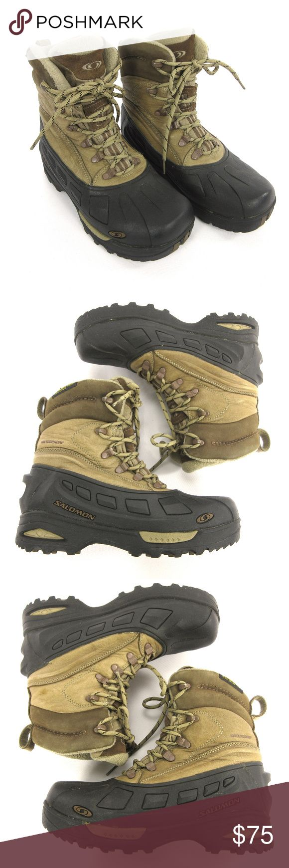 """Salomon Scrambler Mens Winter Boots 7 Waterproof Multisport Footwear Height Mid-calf Footwear Closure Lace-up Waterproof Yes Comfort Range -12 degrees Fahrenheit Upper Full-grain leather/rubber Lining Polyester fleece/nylon Insulated Yes Insulation Polyester fiber Midsole EVA Outsole Rubber Weight (Pair) 3 lbs. 5 oz. Gender Men's  11"""" / 27.9 cm Length - Toe to Heel outside 4 1/8"""" / 10.5 cm Width at widest part of sole outside 8 1/4"""" / 21 cm Shaft - top of boot to floor Salomon…"""