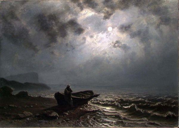 Moonlight on the Norwegian coast, 1876, Knud Andreassen Baade. Norwegian (1808 - 1879)