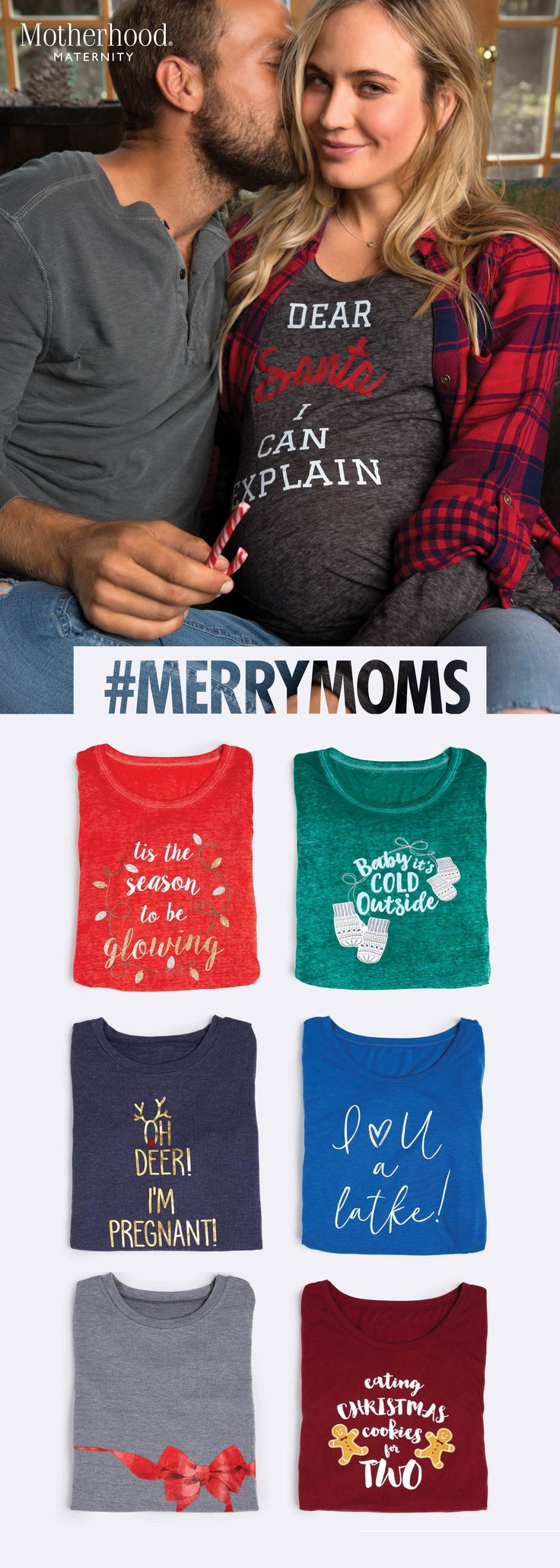 Create your own tidings of joy this season with graphic tee style that speaks from the bump. #MerryMoms @MotherhoodMaternity