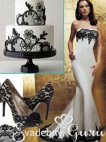 Черное кружевное свадебное платье