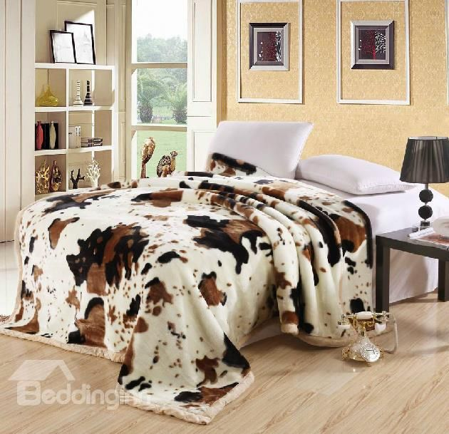 New Arrival High Quality Stylish Cow Color Print Double-Layer Thick Raschel Blanket  @bedding inn