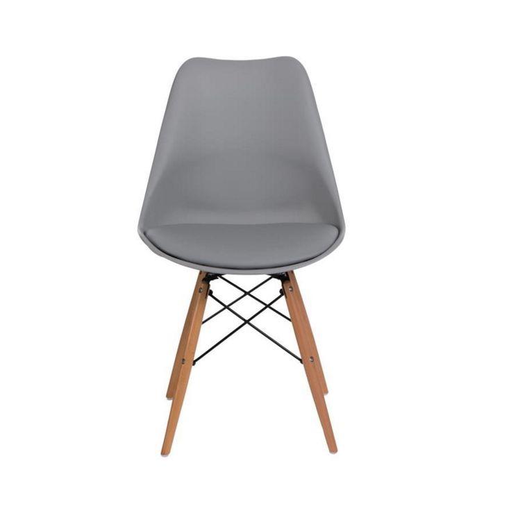 Jídelní židle DSW s polstrovaným sedákem, šedá