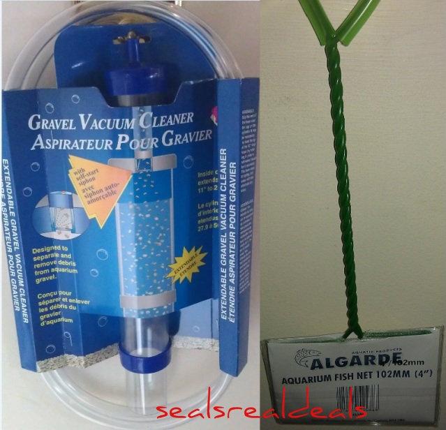 "Large Aquarium Gravel debris cleaner siphon. Free 4"" Fish Net - Small also available - Free 1st class UK Delivery - http://sealsrealdeals.com/large-aquarium-gravel-cleaner/"