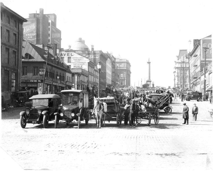Place Jacques-Cartier, vieux-Montréal, début du 20e siècle