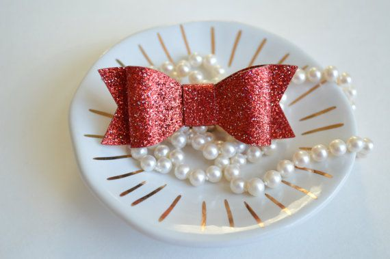 Red Glitter Bow Red Christmas Hair Bow Toddler Hair by Landkatie
