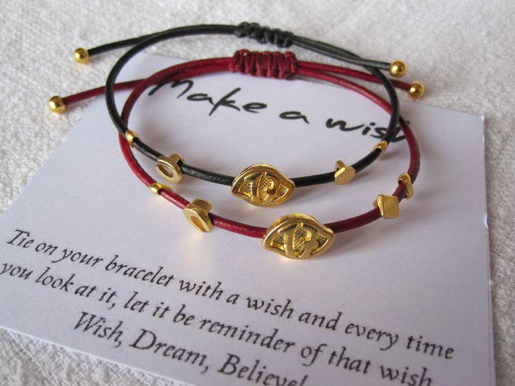 Make a wish lucky 17 bracelet / leather macrame bracelet /New Years lucky bracelet by MykonosByBoni on Etsy