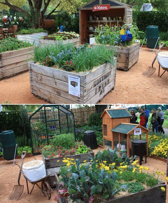 Raised veggie beds using orange crates