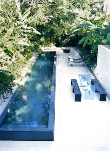 pinned by barefootstyling.com Small modern backyard pool.