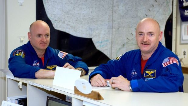 NASA astronauts Mark Kelly, right, stayed on the ground, while his brother Scott Kelly spent 340 days on the International Space Station. Researchers are noting changes in biological markers because of the time in zero gravity.