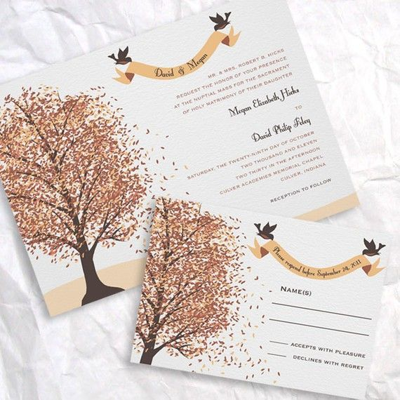 Fall wedding invite