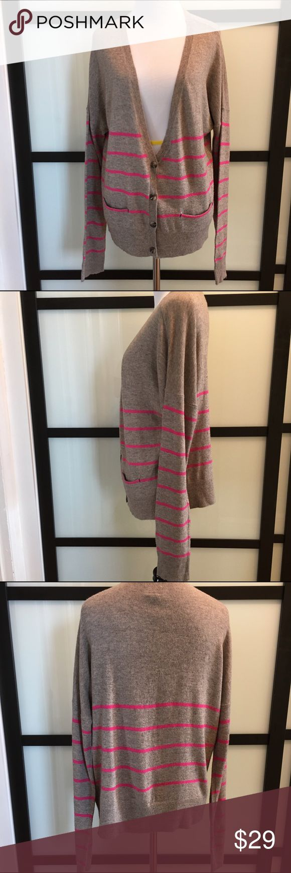 AE Outfitters pink neutral striped spring cardigan Four buttons, front pocket details. Great condition American Eagle Outfitters Sweaters Cardigans