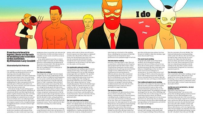 "Eric Petersen: Illustration for a story in The Guardian Weekend Magazine – ""From barn to beach to hipster, these are the only 10 weddings you are invited to this summer"" by Rhiannon Lucy Cosslett"