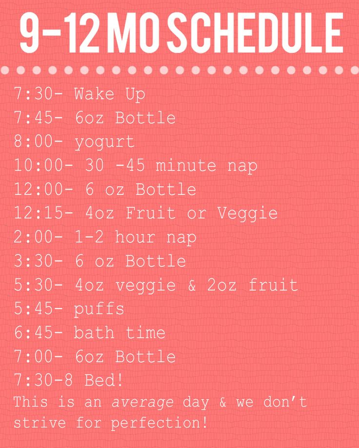 Not into baby schedules, but I like the reminder of how to spread out solid foods throughout the day.