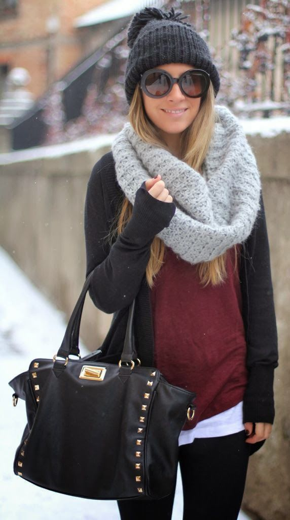 Warm casual winter outfit fashion with scarf, perfect snow vacation look