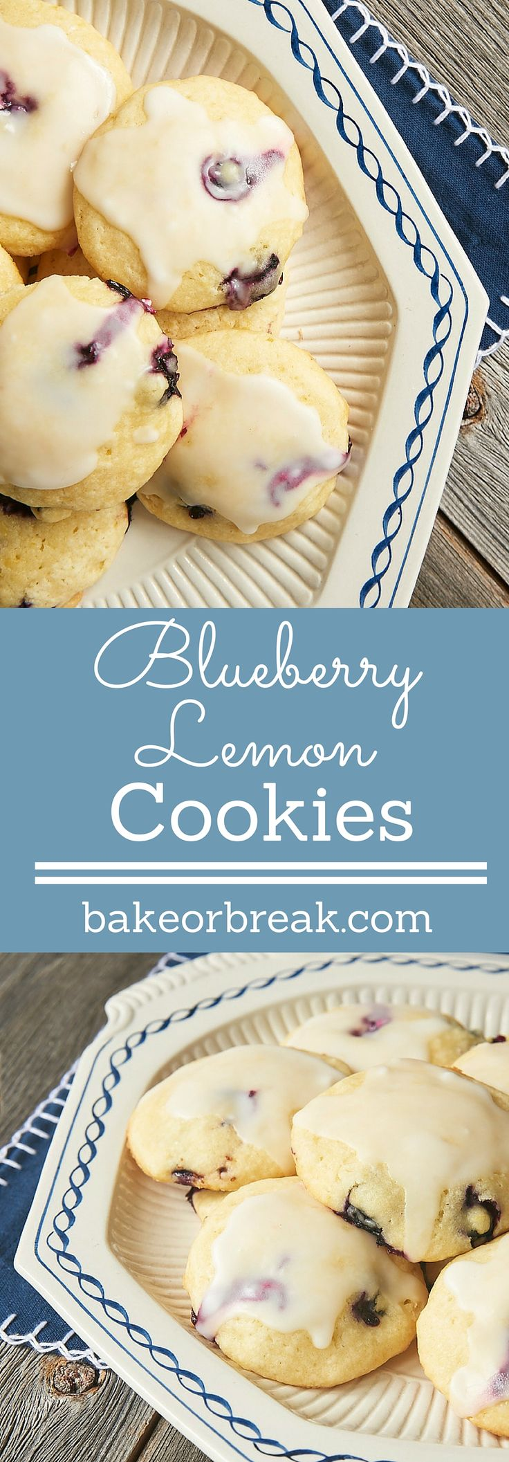 Blueberry Lemon Cookies are soft, cake-like cookies studded with fresh blueberries and bursting with big lemon flavor! - Bake or Break ~ http://www.bakeorbreak.com