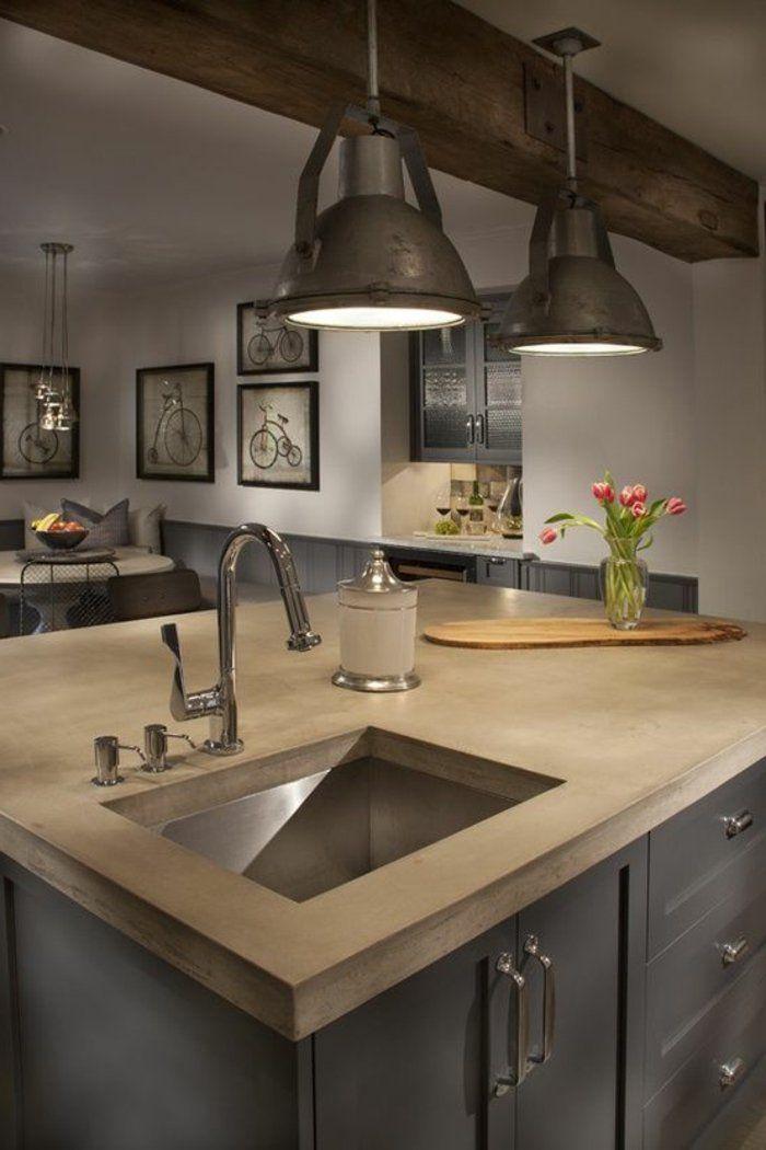ilot central de couleur taupe dans la cuisine moderne