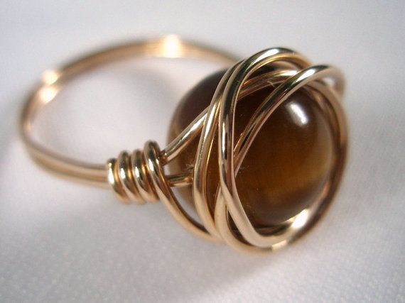 20 gauge Gold Filled Wire Wrapped Ring with Tiger eye Gemstone
