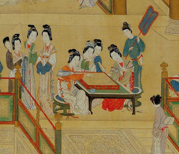 Go players at the Chinese imperial court. 16th century. Ming dynasty.