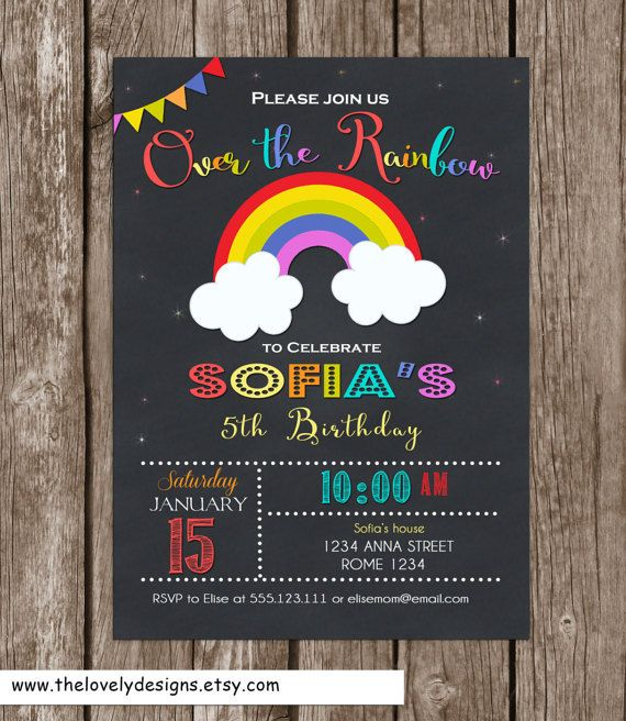 Rainbow  invitation Printable  Colorful by TheLovelyDesigns