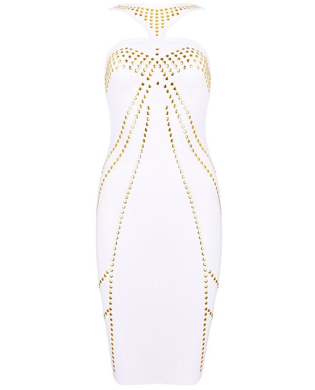 White Spaghetti Strap Bead Bodycon Skinny Dress