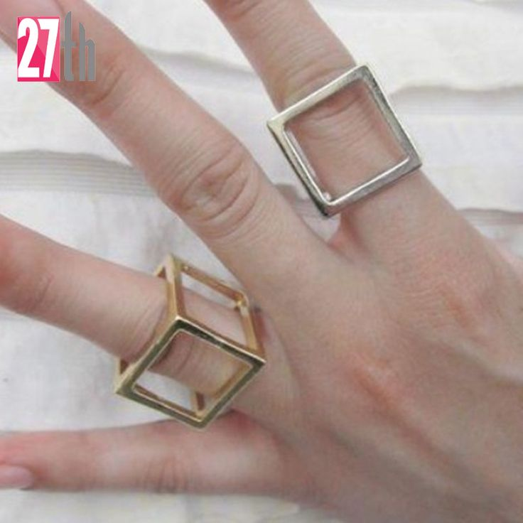 2015 Europe USA Exaggerated Runway Famous Brand Jewelry Fashion PUNK cool Square Cube Three-Dimensional Metal Ring Women Jewelry