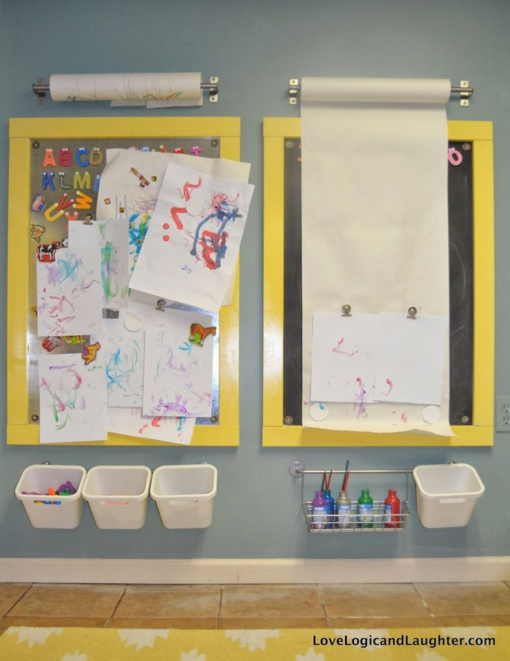 DIY Magnetic Chalkboards for a Play Room and Vertical Work Surfaces for Children
