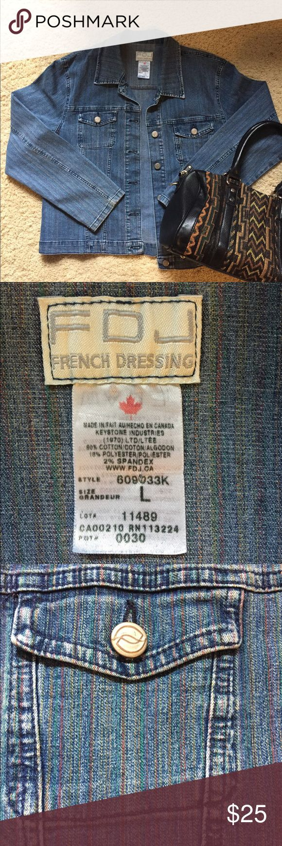 EUC French Dressing Jeans FDJ Large Denim Jacket EUC — like new! Large FDJ French Dressing Jeans. Denim is lightweight. Multi-colored pin-striping seen when looking very close. Street Level geometric purse not included in listing, but is available to purchase in my closet! Great bundle opportunity! French Dressing Jeans Jackets & Coats Jean Jackets