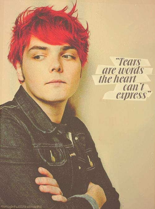 Gerard Way's quote - from My Chemical Romance... Oh, god, I don't have crushes on the mainstream celebrities, but I might be forming one for him--- Mother of god--
